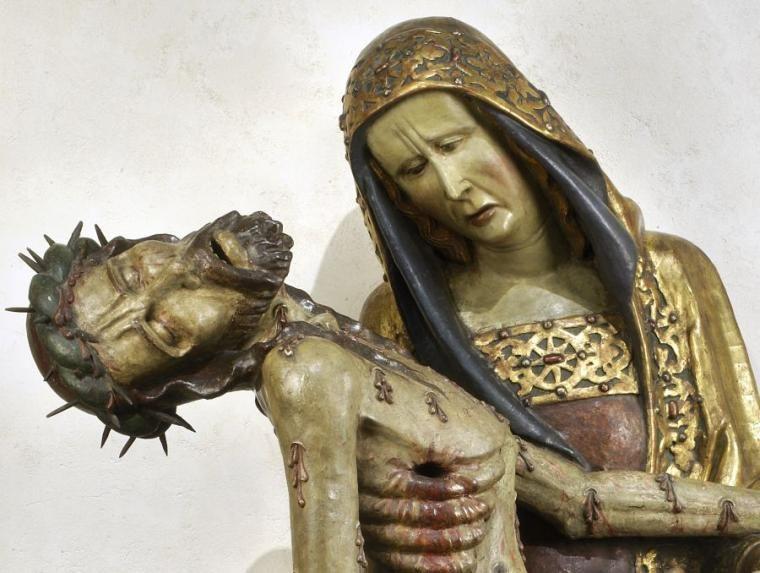 Pietà z Lubiąża, ok. 3. ćwierci XIV wieku - fragment., fot. Muzeum Narodowe w Warszawie