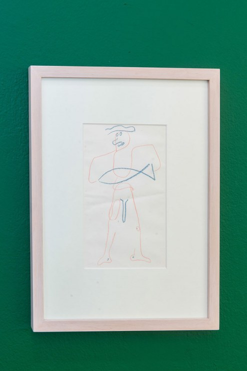 Untitled (Man holding fish), drawing on paper, 2013, from the exhibition Fishing with John, Foksal Gallery, 2013; photo: Bartosz Górka