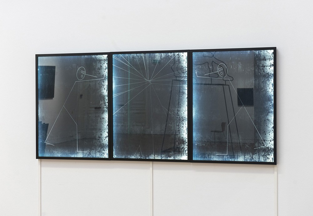 Triptych, drawing on carbon paper, lightbox, 2013, from the exhibition Above and Below