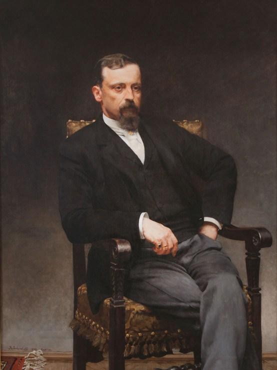 """Kazimierz Pochwalski, """"Portret Henryka Sienkiewicza"""", 1890, olej na płótnie, 132x105 cm, fot. Pałacyk Henryka Sienkiewicza w Oblęgorku"""