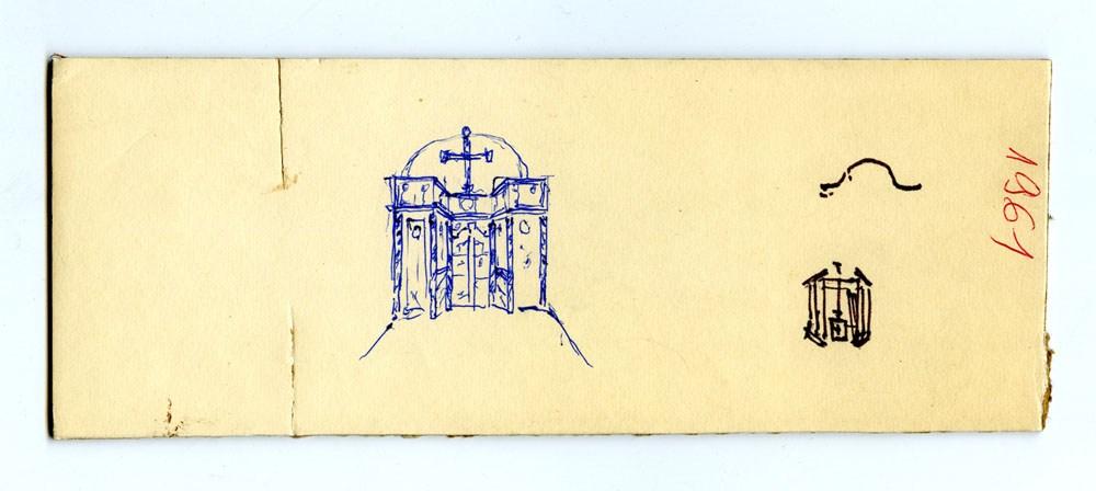 Jerzy Nowosielski, 1966, Projekty ikonostasu do Orzeszkowa k/ Hajnówki, 21,3 x 8,2 cm, długopis, własność prywatna