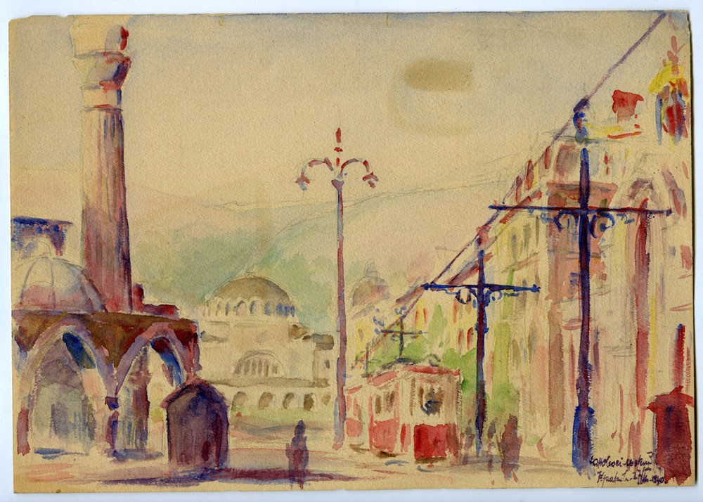 """""""Orientalne miasto"""", Jerzy Nowosielski, 1940, 28,3 x 19,8 cm, akwarela, własność prywatna"""