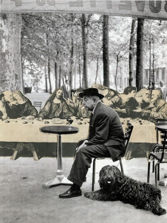 """Jan Dziaczkowski, """"Place Brancussi"""", kolaż z cyklu """"Pozdrowienia z wakacji"""", 2003 - 2007"""