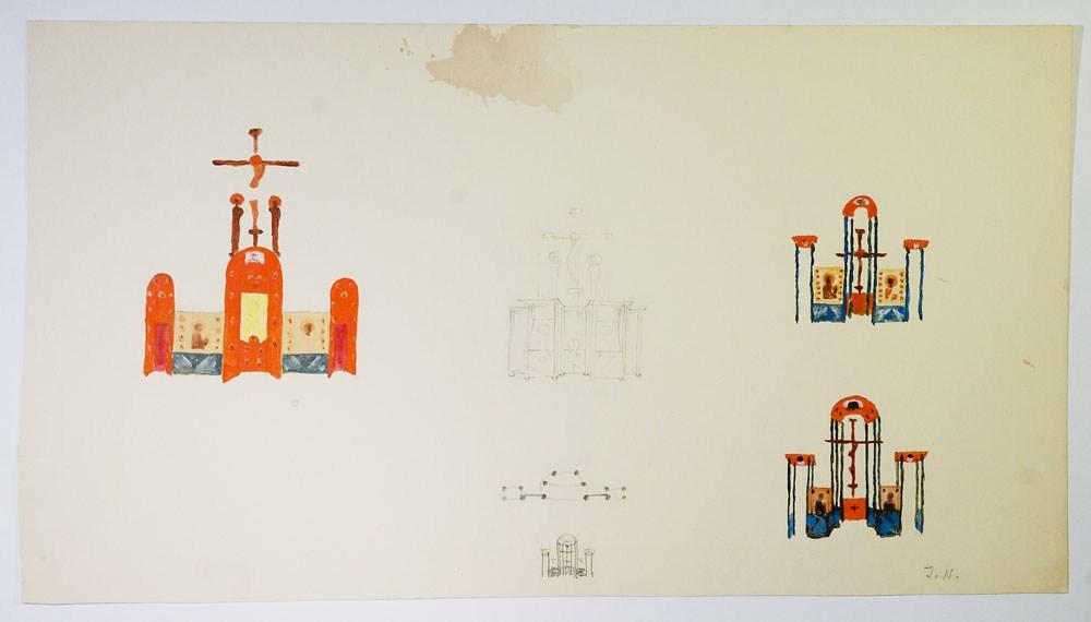 Hajnówka – szkice architektoniczne ikonostasu, Jerzy Nowosielski, 1972-1974, 41,3 x 22,9 cm, akwarela, ołówek, własność prywatna