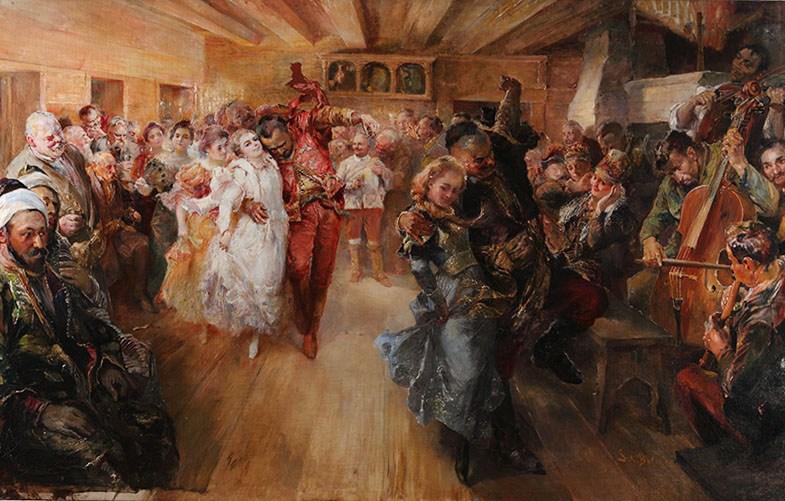 """Stanisław Batowski, """"Zabawa w Chreptiowie"""", 1900, własn. Pałacyk Henryka Sienkiewicza w Oblęgorku"""