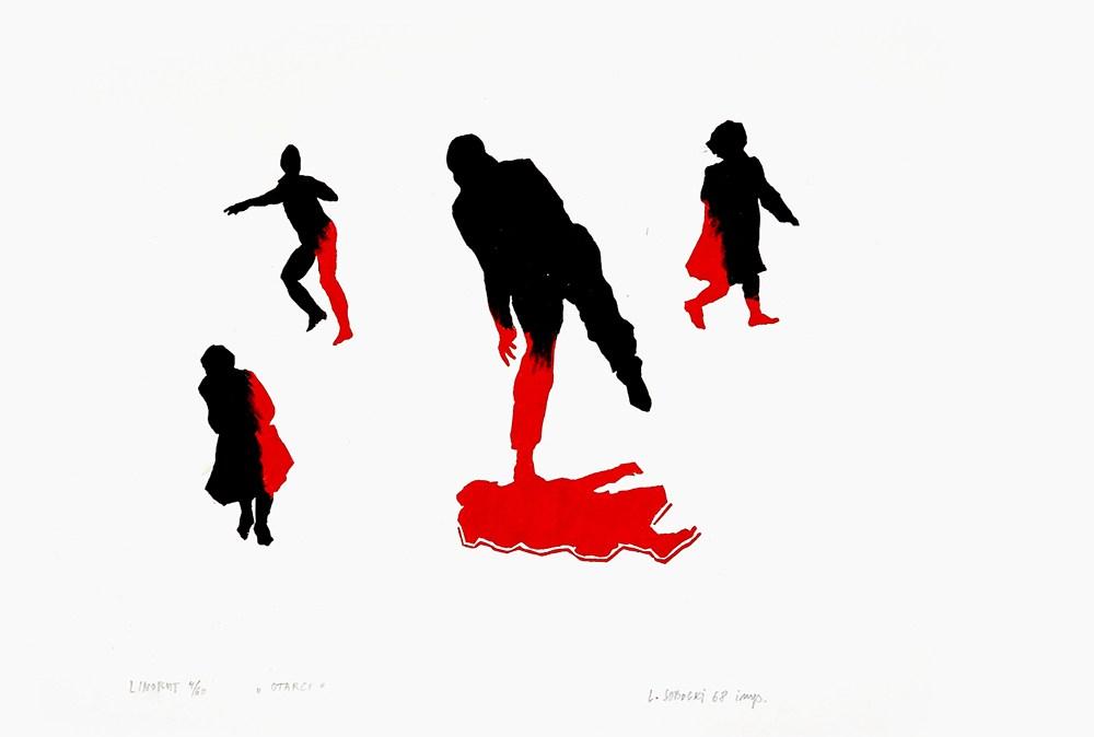 """Leszek Sobocki, """"Otarci"""" z cyklu """"Marzec '68"""", 1968, linoryt własność artysty, fot. MHŻP POLIN"""