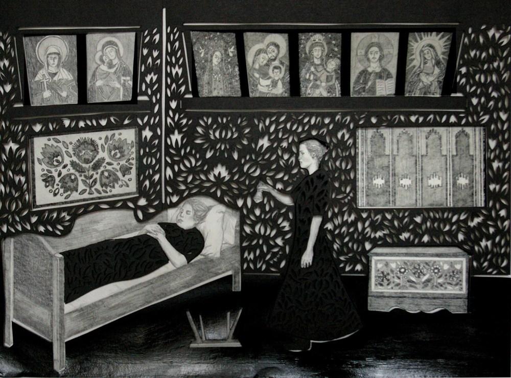 """Berenika Kowalska, """"Dzwoneczek loretański i przewrócone stołki"""" wycinanka 34x46 cm, ołówek, karton 2012, fot. dzięki uprzejmości artystki"""