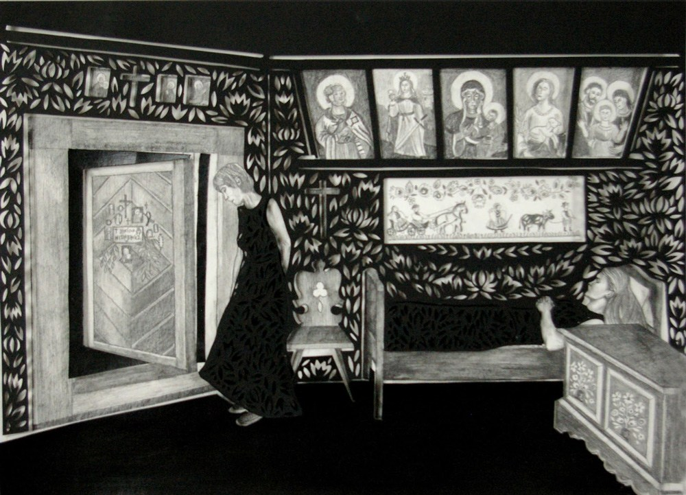 Berenika Kowalska, Obituary, cut-out, 34 x 46 cm, pencil, paper, 2012. Photo: courtesy of the artist