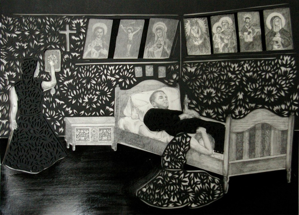 Berenika Kowalska, Stopping the Clocks and a Candle in the Hands, cut-out, 34 x 46 cm, pencil, paper, 2012. Photo: courtesy of the artist