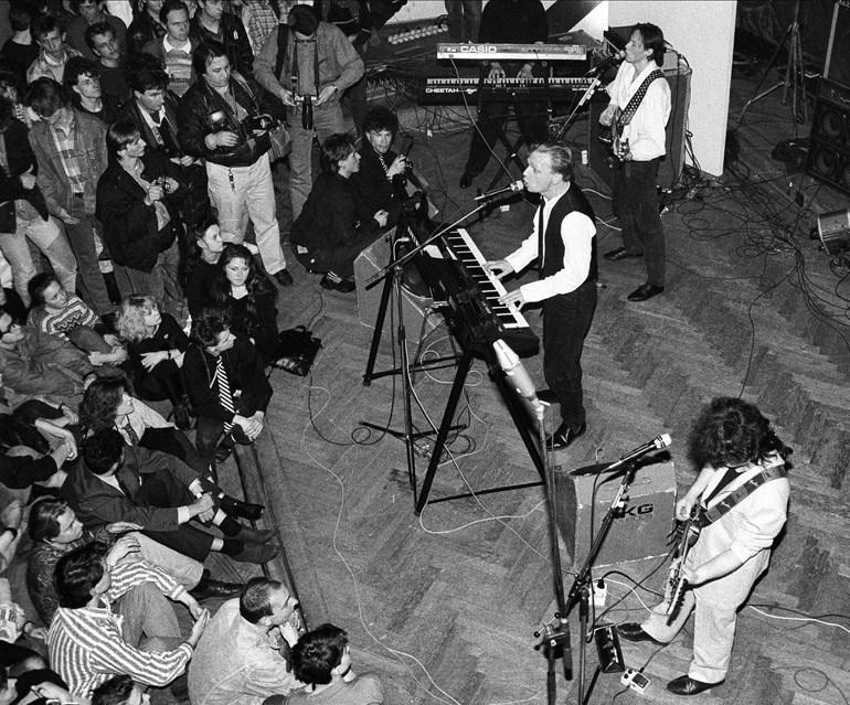 Koncert Republiki, n/z Grzegorz Ciechowski, Warszawa, 14.04.1990, fot. Darek Majewski/Forum