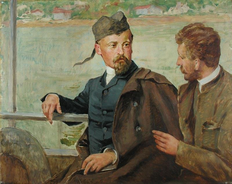 """Kazimierz Pochwalski, """"Henryk Sienkiewicz i Kazimierz Pochwalski na statku"""", ok. 1940, olej na sklejce, 102x81 cm, fot. Muzeum Narodowe w Kielcach"""