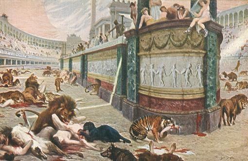 """Jan Styka, scena z """"Quo Vadis"""", """"Męczeństwo Chrześcijan w Cyrku Nerona"""", fragment, 1902, fot. www.stykafamilyart.com"""