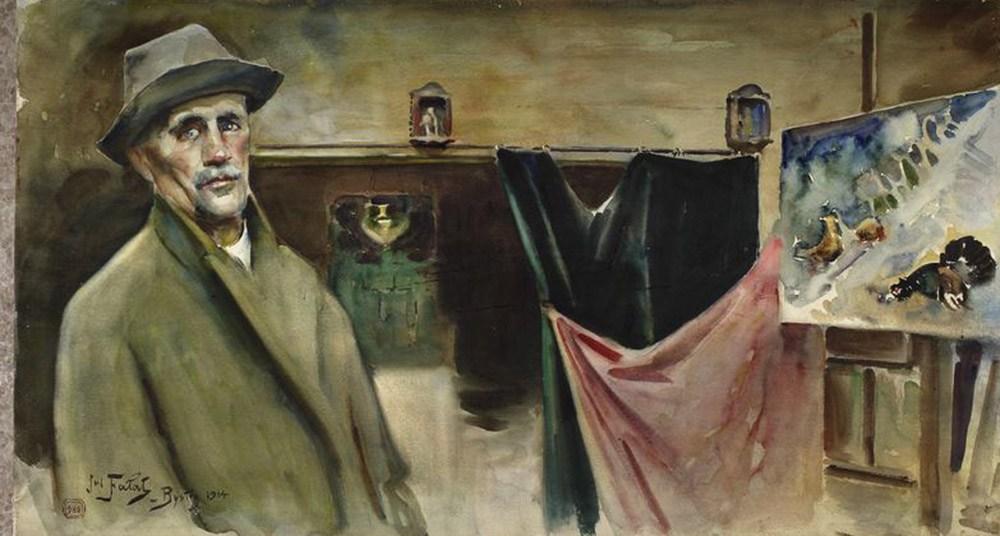 """Julian Fałat, """"Autoportret w pracowni w Bystrej"""", 1914, akwarela, fot. Muzeum Narodowe w Warszawie"""