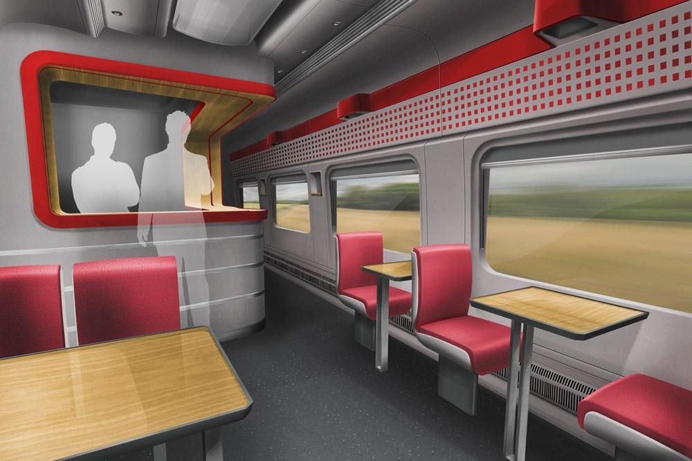Janusz Kaniewski Design, wagon restauracyjny w pociągu Intercity PesaDART dla PESA Bydgoszcz S.A., 2015, fot. dzięki uprzejmości spadkobierców