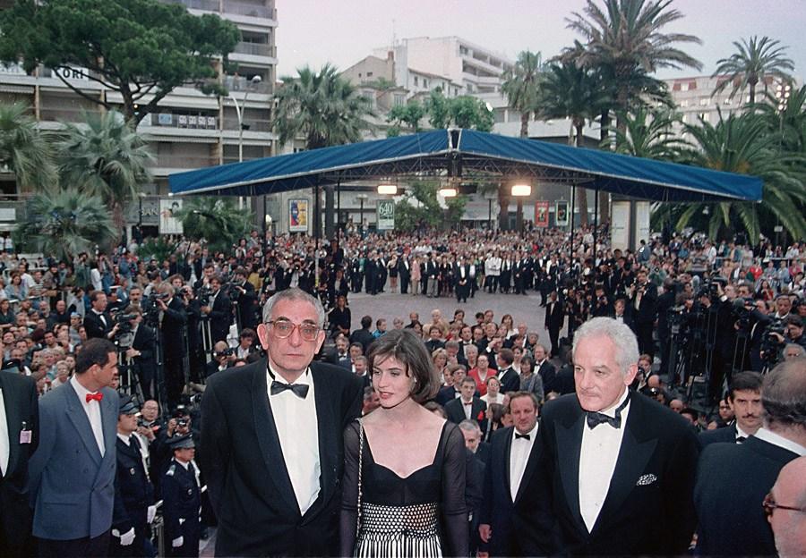 Krzysztof Kieślowski, Martin, Irene Jacob, Martin Karmitz, Festiwal Filmowy w Cannes, 1994, fot. Jerzy Kośnik