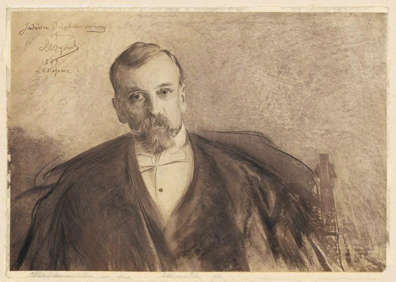 """Leon Wyczółkowski, """"Henryk Sienkiewicz"""", 1899, rysunek, własn. Muzeum Narodowe w Warszawie"""