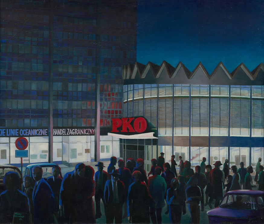The PKO Rotunda, a 1974 painting by Halina Eysymont, photo: Skanery Niewiarygodne
