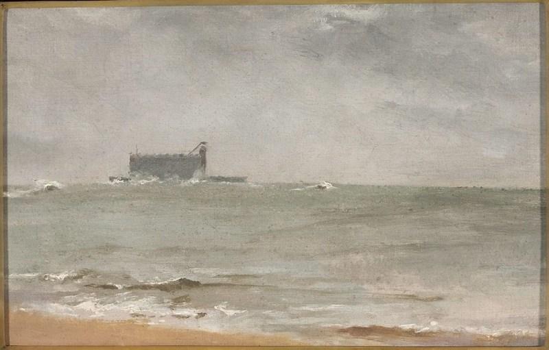 """Anna Bilińska-Bohdanowicz, """"Fort Boyard. Widok morski ze statkiem"""", 1889, olej na płótnie, kol. Muzeum Narodowe w Warszawie, fot. MNW"""