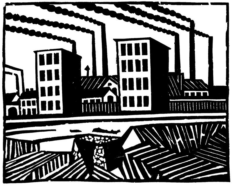 """Hiller Karol, """"Łódź fabryczna"""" (Fabryka), 1922, linoryt, papier, fot. Muzeum Sztuki w Łodzi"""