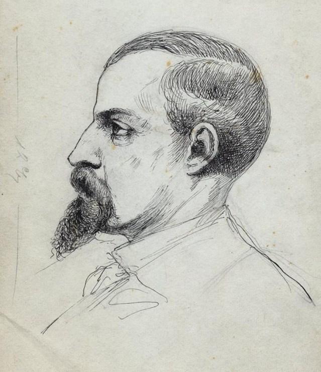 """Pius Weloński, """"Portret Henryka Sienkiewicza"""", kon. XIX wieku, rysunek, fot. Biblioteka Narodowa (Polona)"""