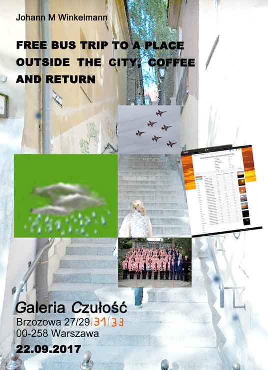 """Plakat do wystawy """"Autobusowa wycieczka do pewnego miejsca za miastem, kawa i powrót"""", 2017, fot. dzięki uprzejmości Galerii Czułość"""