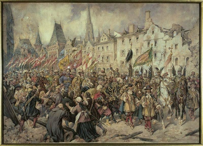 Wjazd Jana III do Wiednia; 1897; akwarela; papier; 72 x 101 cm, fot. Ligier Piotr/Muzeum Narodowe w Warszawie