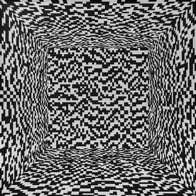 """Ryszard Winiarski, """"Obszar 135"""". Penetracja przestrzeni iluzorycznej z punktem zbiegu w środku obszaru. Zmienna losowa - kostka do gry, 1973, fot. Fundacja Rodziny Staraków"""
