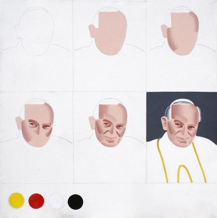 """Rafał Bujnowski, """"Schemat malowania papieża"""", 2001, olej na płótnie, 120 x 120 cm, fot. dzięki uprzejmości Galerii Raster"""