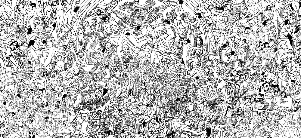 """Mariusz Tarkawian, """"Pokój i Miłość"""", 2016, detal, marker olejowy na sklejce, 120x700 cm, fot. dzięki uprzejmości galerii Propaganda"""