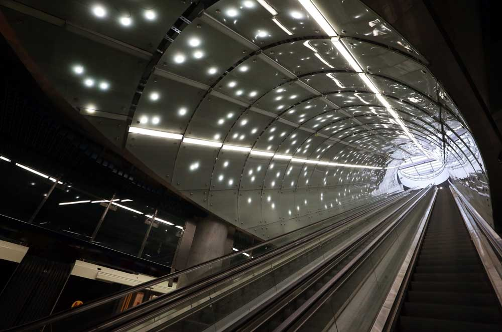 The escalator at the Centrum Nauki Kopernik/Copernicus Science Centre station (II metro line in Warsaw), photo: Kuba Atys / Agencja Gazeta