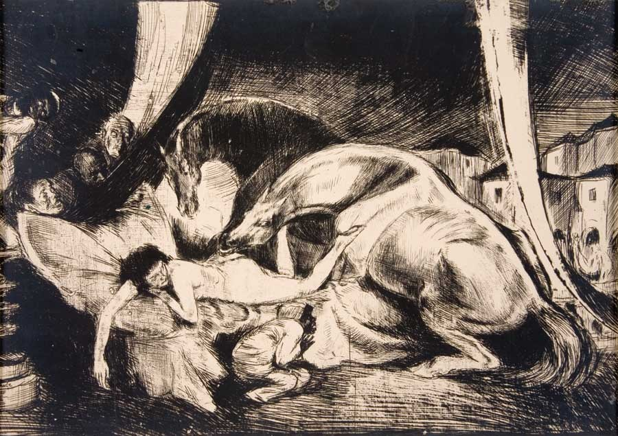 Bruno Schulz, Stallions and eunuchs, 1920-1921, cliché-verre on paper, 15,6 x 23,4 cm, photo: National Museum of Art in Kraków