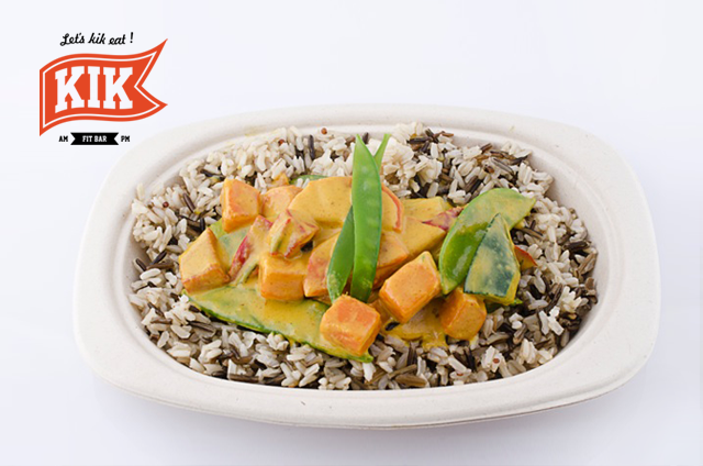 Sweet potato with green peas on wild rice, photo: courtesy of Kik Fit