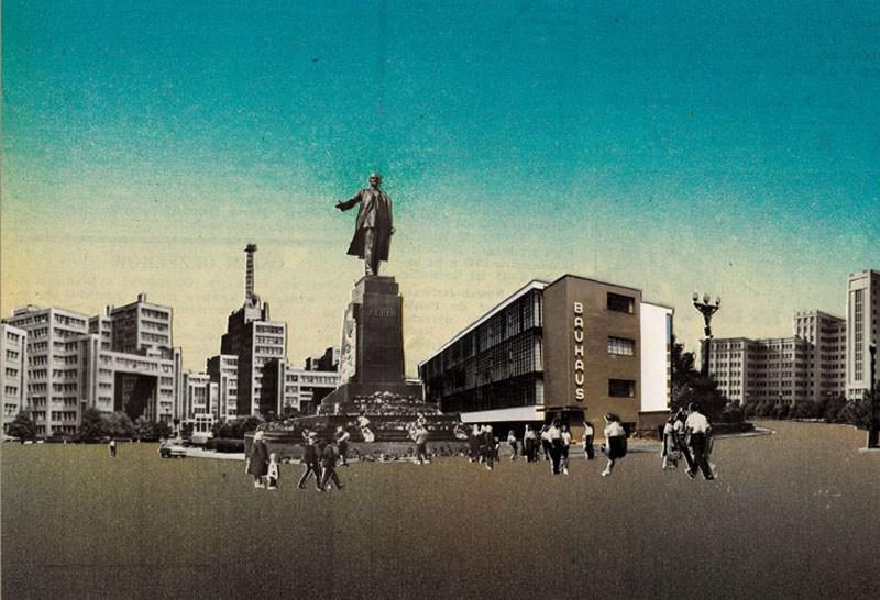 Jan Dziaczkowski, Bauhaus, Dessau, from the series Keine Grenze, 2008, collage
