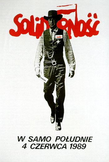 Томаш Сарнецкий «Ровно в полдень», политический плакат, 1989