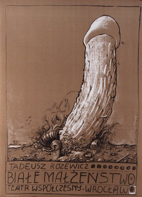 """Franciszek Starowieyski, poster for the production of Tadeusz Różewicz's play """"White Marriage"""""""