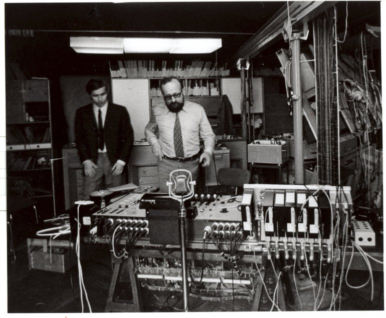 Eugeniusz Rudnik and Krzysztof Penderecki at work in PRES, photo: Andrzej Zborski