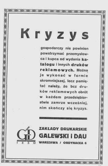 Reklama przestrzegająca przed kryzysem, fot. materiały archiwalne