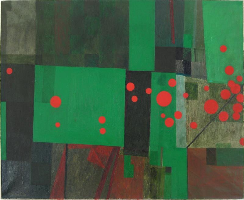 """Włodzimierz Jan Zakerzewski, """"Kompozycja z czerwonymi kręgami"""", 1970-1971, olej, fot. dzięki uprzejmości artysty"""