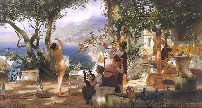 """Henryk Siemiradzki, """"Taniec wśród trzech mieczów"""", 1881, 120 × 225 cm, olej na płótnie, fot. Muzeum Narodowe w Warszawie"""