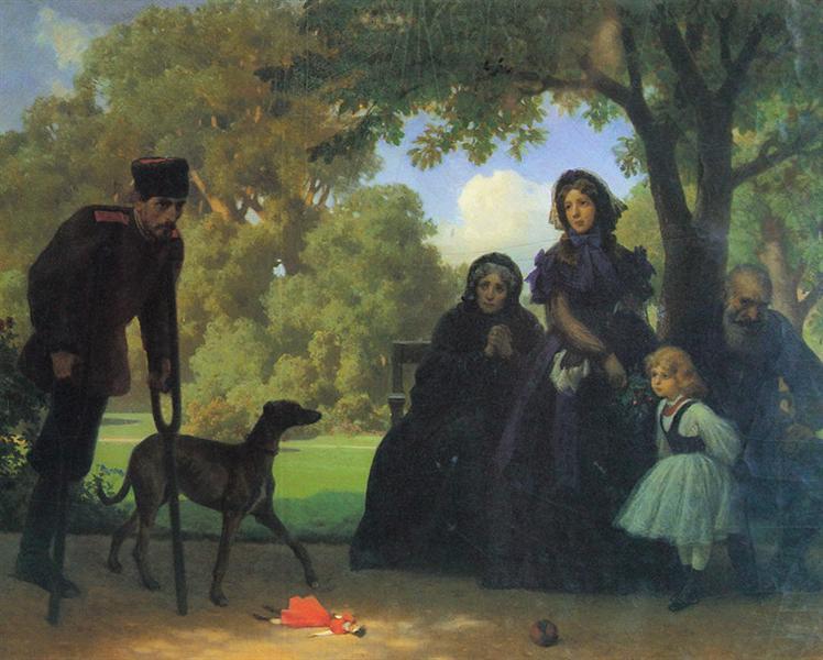 W saskim ogrodzie 1863, olej na tekturze 39,5x49,5 foto T. Żółtowska-Huszcza w zbiorach Muzeum Narodowego w Warszawie