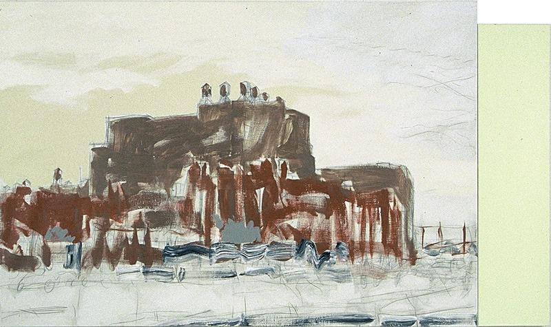 """Włodzimierz Jan Zakrzewski, """"Żółty pejzaż"""" (""""Manhatatan""""), 1996, 135 x 230 cm, fot. dzięki uprzejmości artysty"""