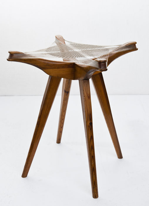 "Andrzej Pawłowski, ""Woven"", stool made by Antoni Fic, 1954, private collectionphoto: Michał Korta"