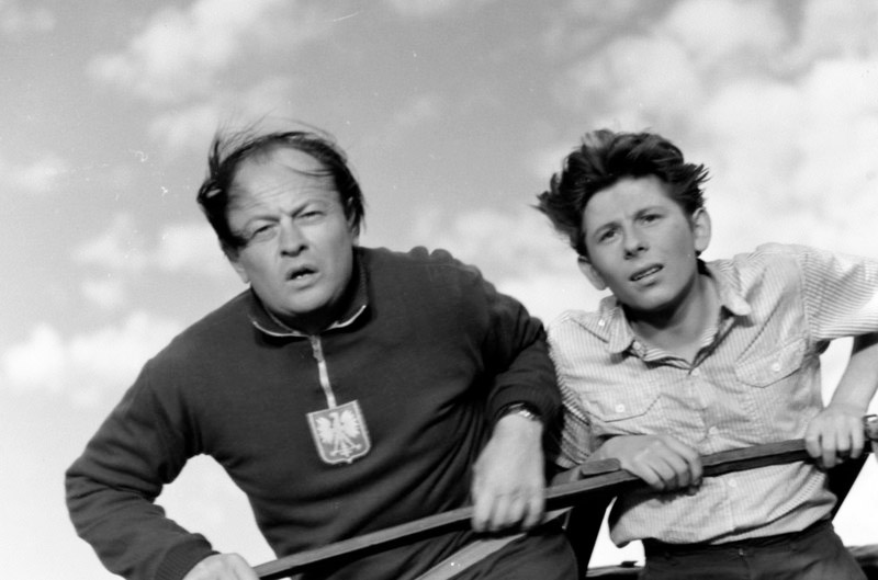 "Aleksander Sewruk and Roman Polański in Silik Sternfeld&squot;s ""Magical Bicycle, 1955, photo: Courtesy of the Łódź Film Museum"
