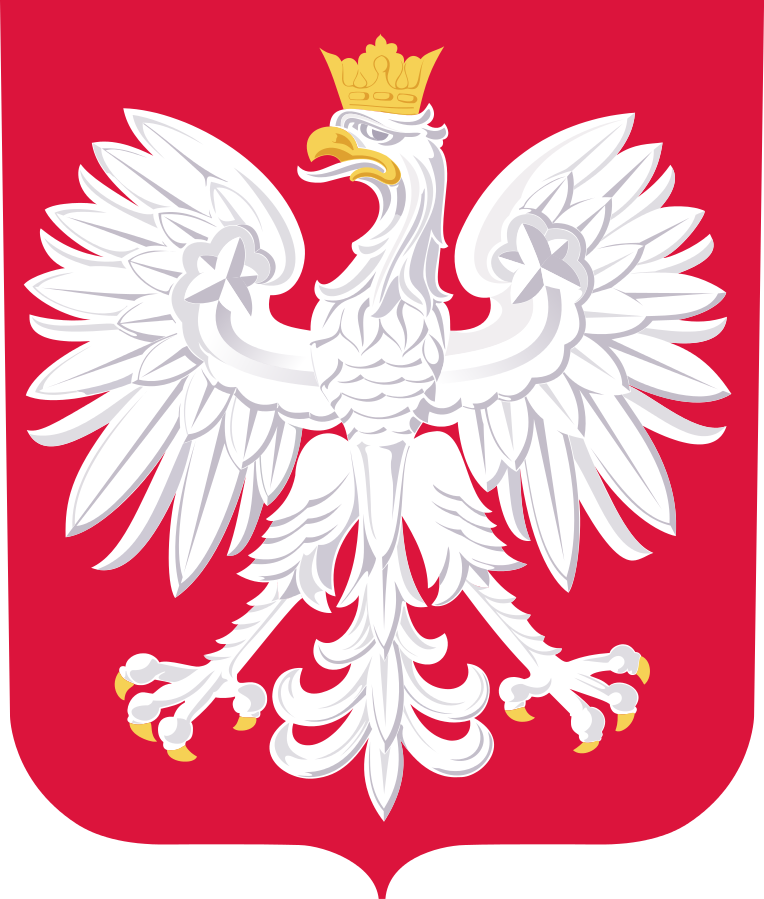 Polish coat of arms, featuring the white eagle, source: Wikimedia Commons