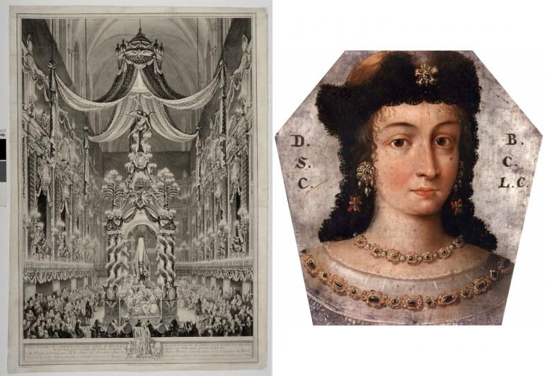 Castrum doloris of Katarzyna Opalińska, Notre-Dame, Paris, 1747, and a coffin portrait of Barbara Lubomirska, 1676; Photo: Wikimedia Commons