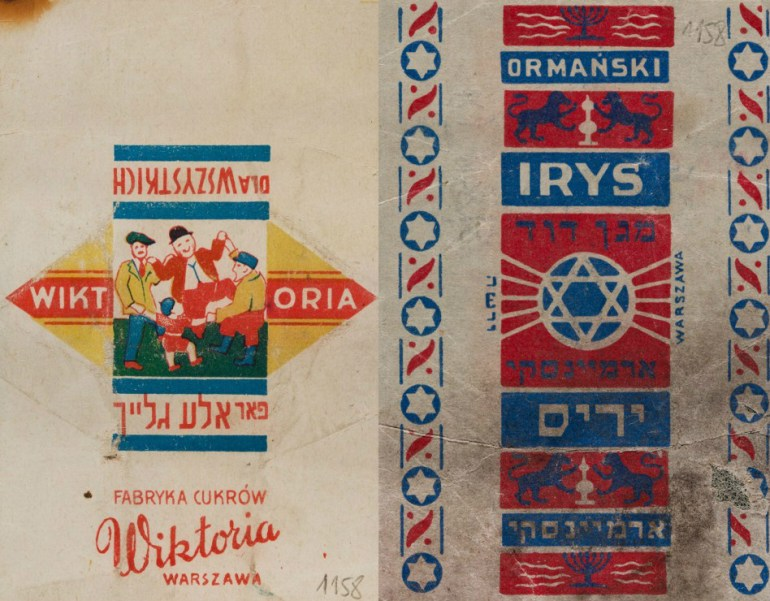 Candy wrappers found in the Ringelblum Archive, photo: Jewish Historical Institute