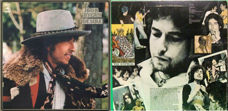 Bob Dylan's 1976 Desire album artwork, on the right the back of the sleeve with the image of Joseph Conrad; Source: public domain