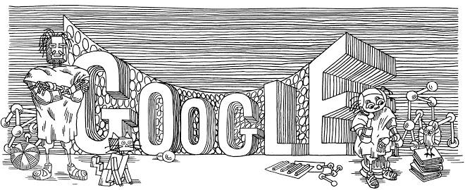 Google Doodle, посвященный Станиславу Лему (2011), созданный на основе иллюстратора Лема Даниэля Мруза. Фото: Google