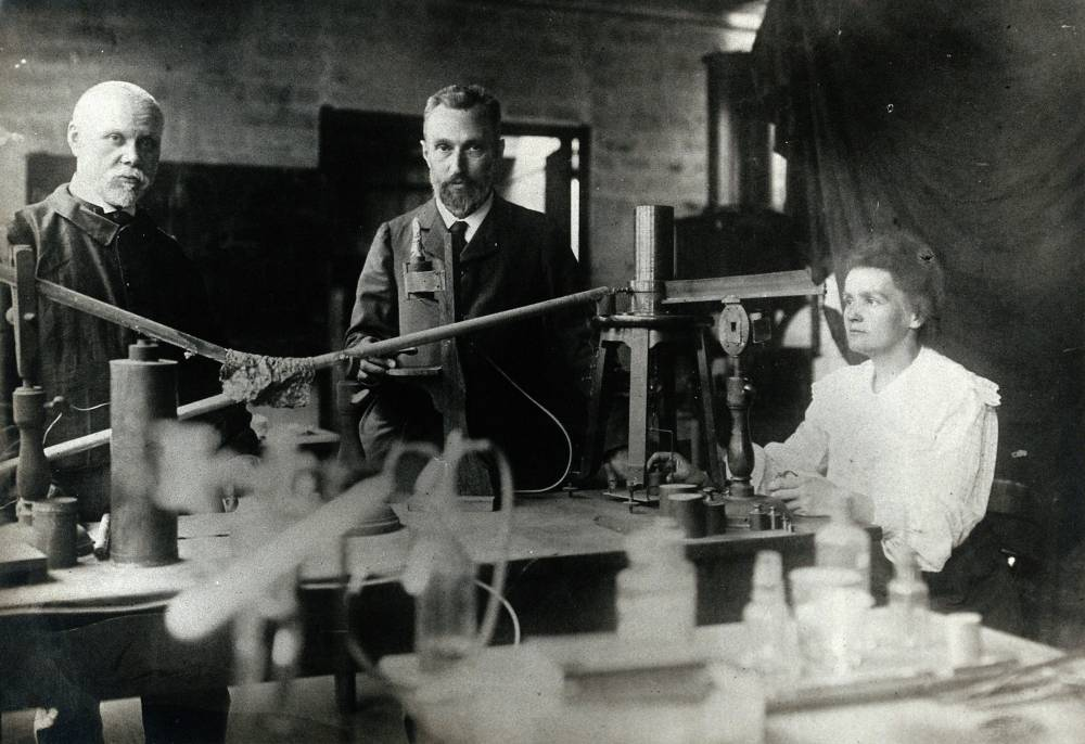 Marie and Pierre Curie in their laboratory in Paris. Photo: Wikimedia