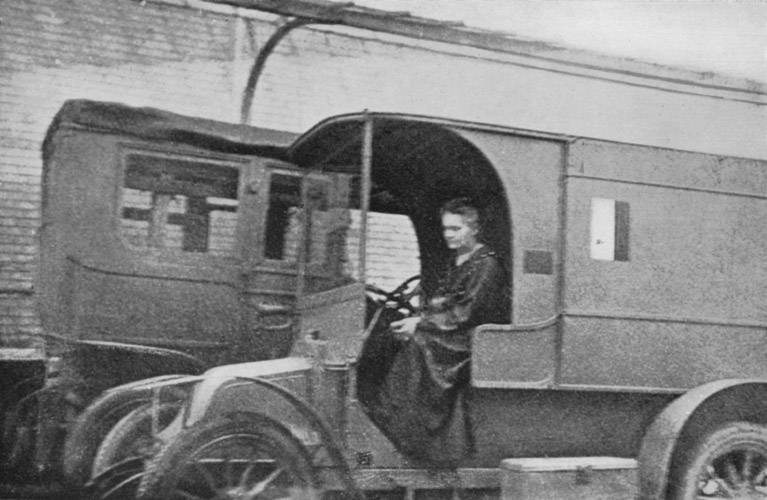 Marie Curie during World War I in one of the moblie X-ray units, known as 'petits Curies'. Photo: Wikimediavehilcles